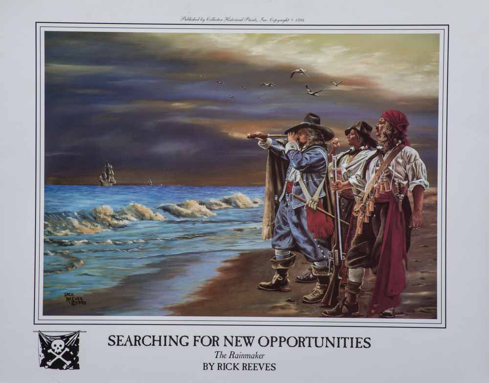 Pirates searching beach
