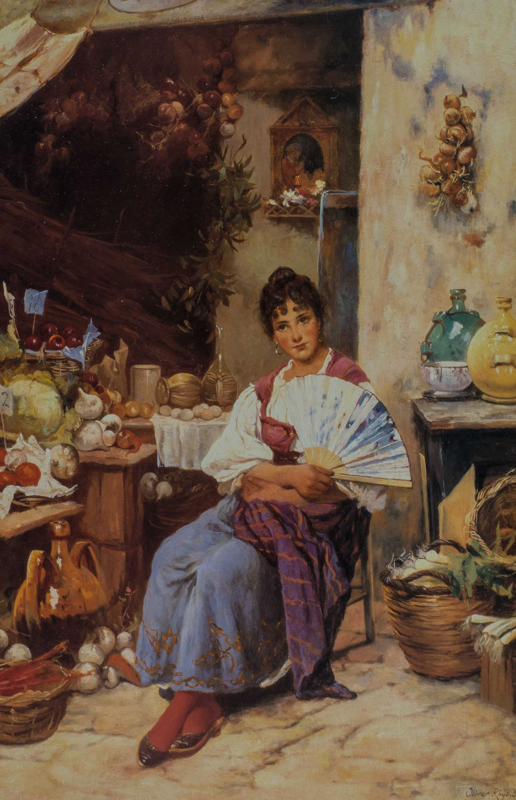 A Venice woman sits in the hot street market selling tomatoes, onions and garlic.