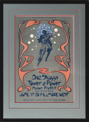 Nude couple floating through air water bubbles Music Boz Scaggs and Tower of Power concert poster 1971 Rock and Roll show at Fillmore West San Francisco produced by  Bill Graham