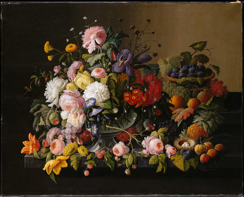 A Beautiful detailed still life composition of a colorful assortment of flowers and fruit.