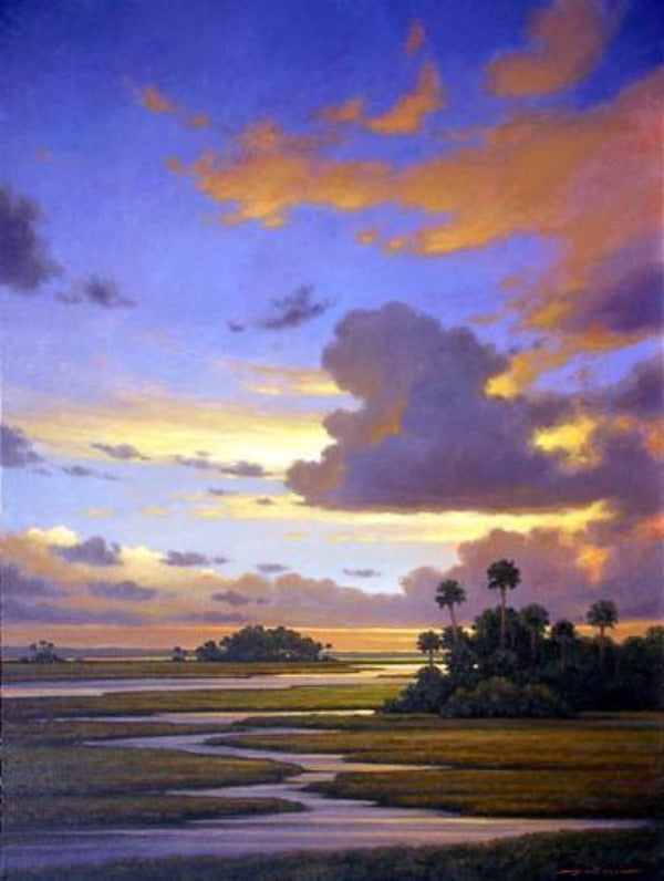 Marsh Sunset - Sunrise with River Southern Landscape Plein-air Oil Paintings