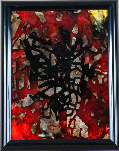 An abstract red, black, and grey alcohol ink by featured artist Linda Walsh.