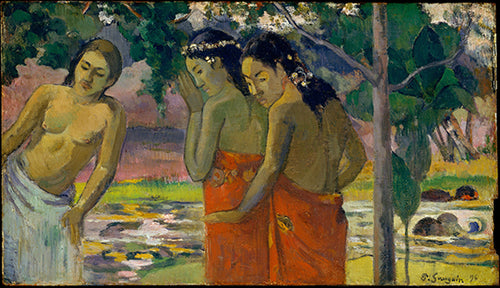 A beautiful Vintage print by famous artist Paul Gauguin of three Tahitian women scantily clad in the jungle from the 1800's.