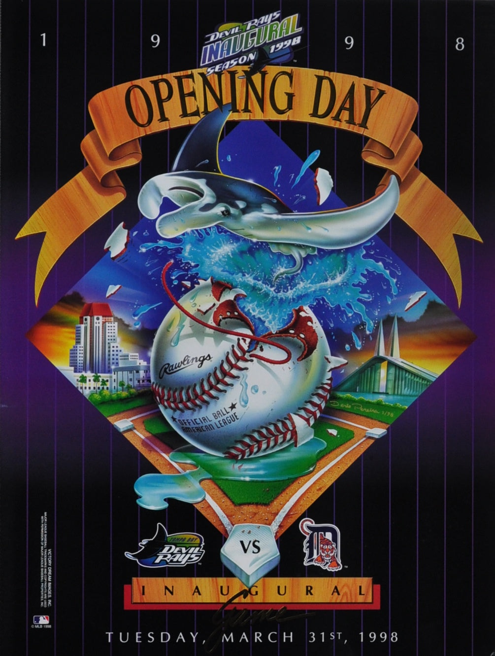 Tampa Bay Rays Opening Game With the Detroit Tigers, March 21st 1998 24 x 18 Poster