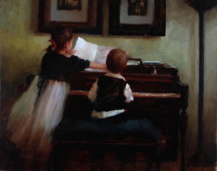 A boy receives a piano lesson from his older sister. The children sit together learning music.