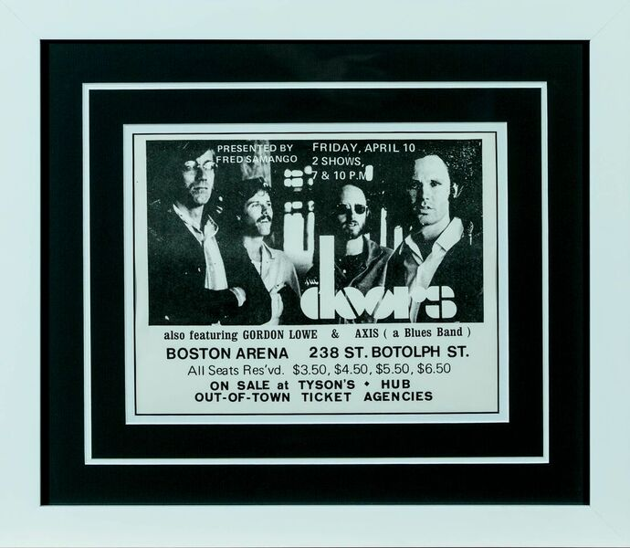 The Doors original Concert Handbill from 1970 Boston Arena 11.25 x 16.75 Framed call for price