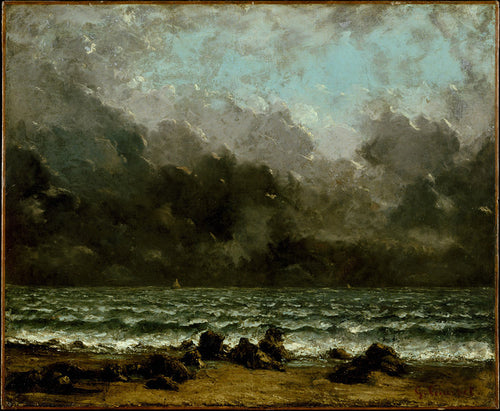 A vintage seascape from the late 1800's featuring grey clouds lingering above rocky ocean waves before a storm.