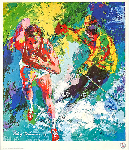 Colorful Vintage Olympic Training Centers poster featuring athletes training.