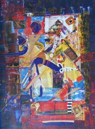 Original-Painting-with-Goldleaf-Dream abstract Bright Colors Island Bali