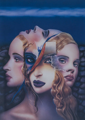 A surreal print of a woman's four faces and identities collaged into one face.