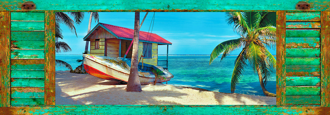 Tropical Island Life working boat Bright Colors
