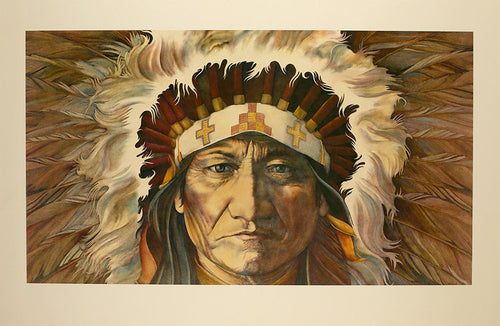 A vintage historical print from the 1980's of a Native American chief wearing a feather headress preparing himself for war.