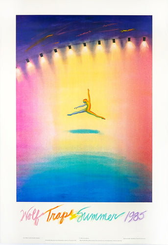A colorful poster from the 1980's featuring a dancer flying through a rainbow of colors on a pastel stage surrounded by theater lights.