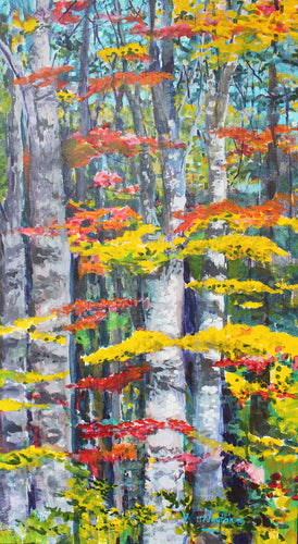 Trees in the forest with bright color leaves and 3 dimensional feeling