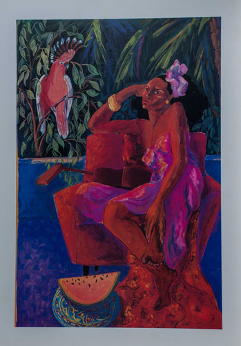 Gauguin Style artist. A woman sits on an easy chair in the tropics, awaiting her lover.