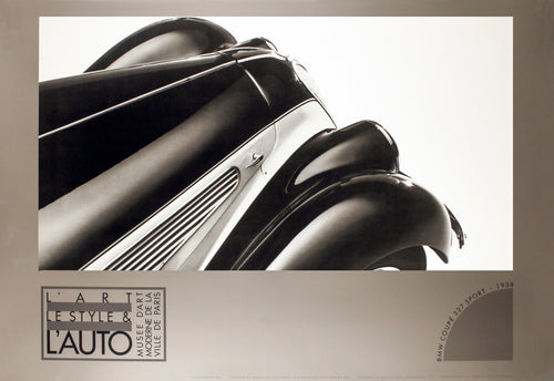 A vintage poster of a classic black antique BMW for the 100th Anniversary of the Automobile from the 1980's.