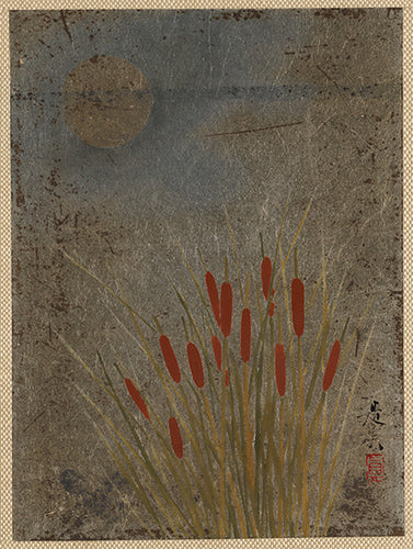 A vintage print of cattails in a pond in the moonlight by a Japanese artist.