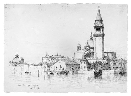 A black and white architectural drawing of San Giorgio Maggiore, Venice Italy in the 1800's.