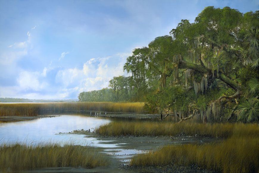 riley, seven north art, painting, print, birds lake, nature, tree, southern everglades