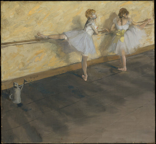 An impressionist print by famous artist Edgar Degas. Two little girls practice thier plea's on the barre in soft muted pastel tutus. The watering can to the left was a staple in dance classes.