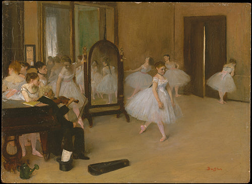 Degas' first portrayal of a dance class featuring young ballerinas practicing in the artist's studio