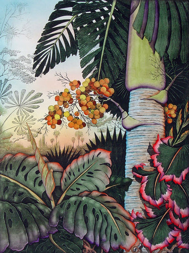 Palm trees in colorful lush Tropical forest old hand painted etching