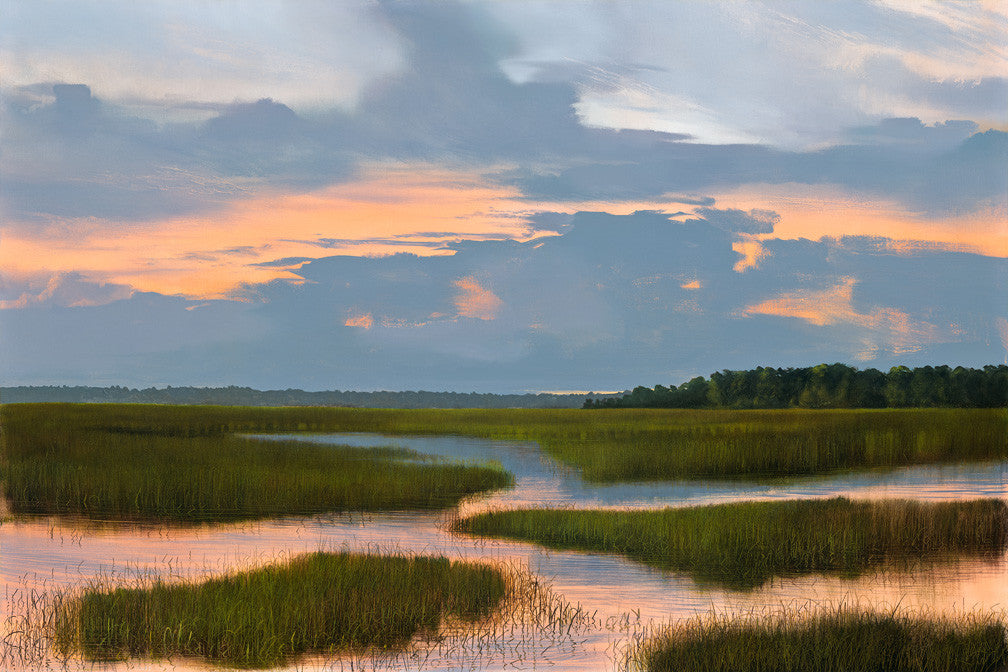 riley, seven north art, painting, print,  nature, woods, lake, marsh, swamp, sunset, southern
