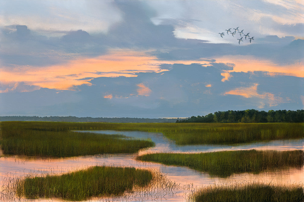 riley, seven north art, painting, print, lake, woods, marsh, sunset, southern