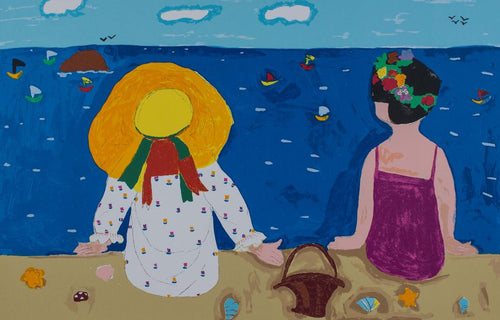 girls making friends at the beach original silkscreen