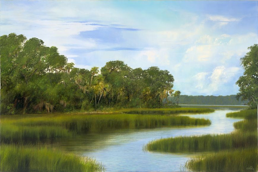 riley, seven north art, painting, print, lake, river, marsh nature, woods