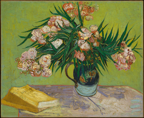 A bouquet of gorgeous pink blooming Oleander flowers in a vase next to an old novel.