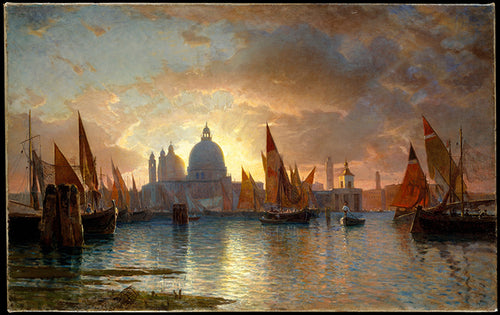 A beautiful coastal Seascape sunset of the city Santa Maria della Salute as boats pull into the harbor.