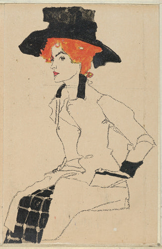 A sketch of a woman with red hair and a black hat from the 1900s.