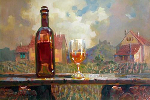 Wine and Glass by Vinyard Original Oil Painting