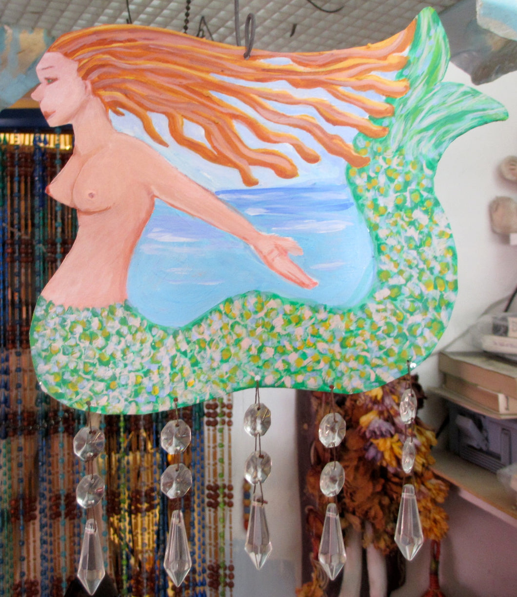 Mermaid Painting on Metal Hanging Mobile