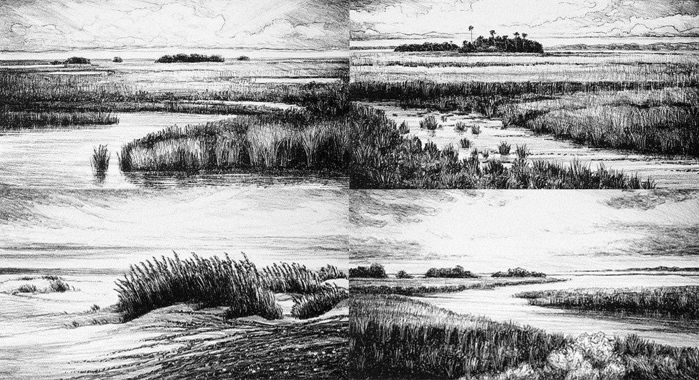 Pettegrew Prints of Marsh Low Lands black and white from Charcoal drawings