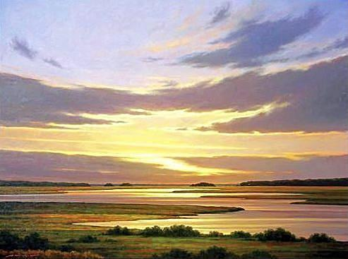 Vast Sunset-sunrise Sky and marsh lowlands landscape art