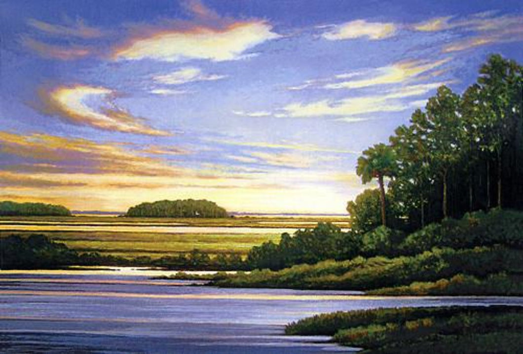 Peter Pettegrew Silkscreen hand made Low Country marsh and water at sunset and trees