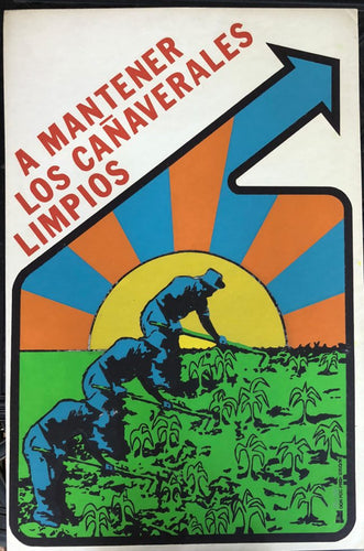 Cuban art Social Public Poster with Sun Field farm and Blue Orange Green