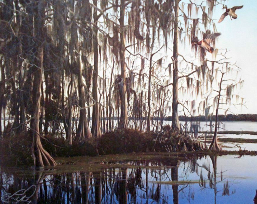 riley, seven north art, painting, print, nature, woods, lake, marsh, swamp, southern