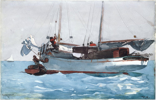 A vintage watercolor of a Schooner Yacht from 1903.