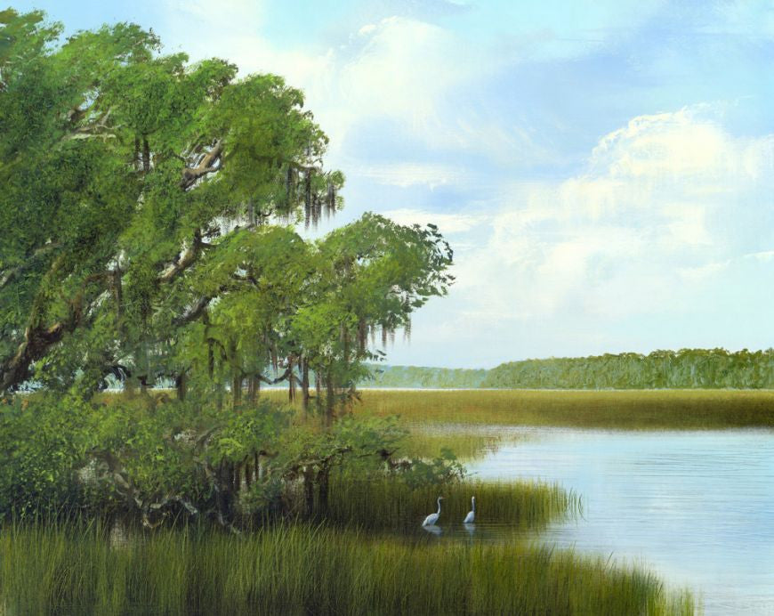 riley, seven north art, painting, print, birds lake tree