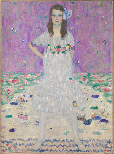 A portrait of a nine year old girl standing confidently in a white spring floral dress by famous artist, Gustav Klimt with a purple background.