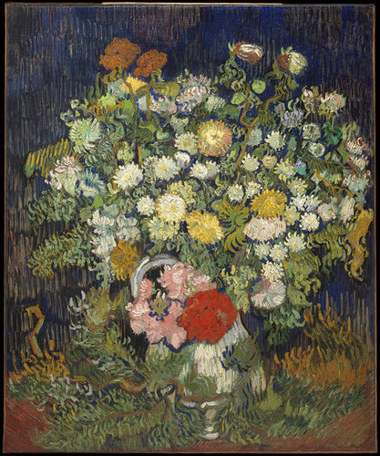 A vintage print of delicate and detailed flowers by famous artist Vincent Van Gogh rich in color and texture.