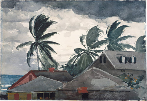 A vintage watercolor of a hurricane in the Bahamas from the late 1800's. A Beach house with an ocean view is surrounded by black and grey clouds, as the palm trees bend and sway with the wind.