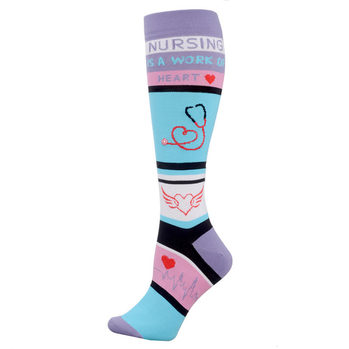 Valencia Med Knee High Compression Sock, Nursing is a Work of Heart