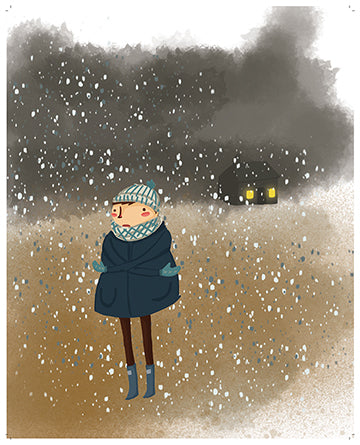 Child in snow - art print