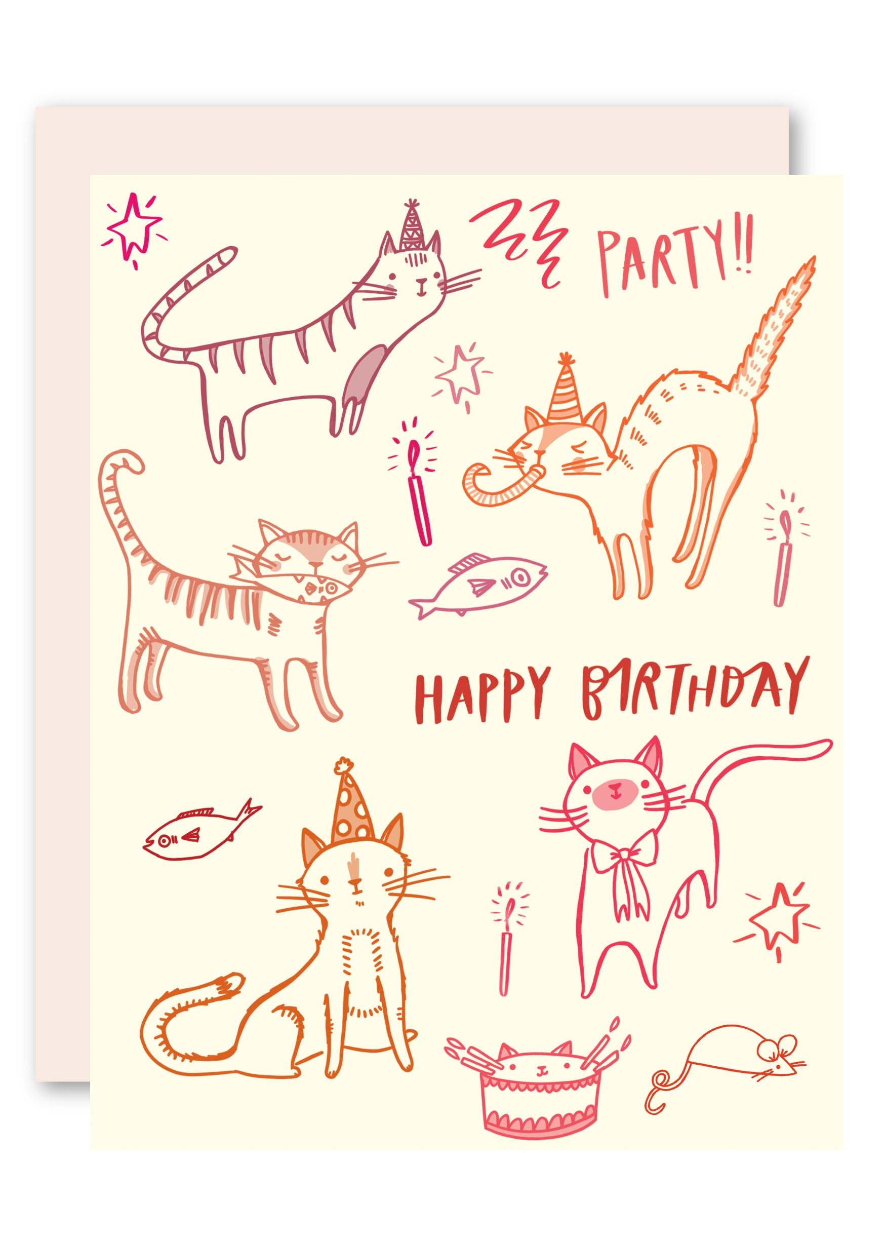 Cat Party Birthday Card For Women Men Kids And Cats By Pencil Joy