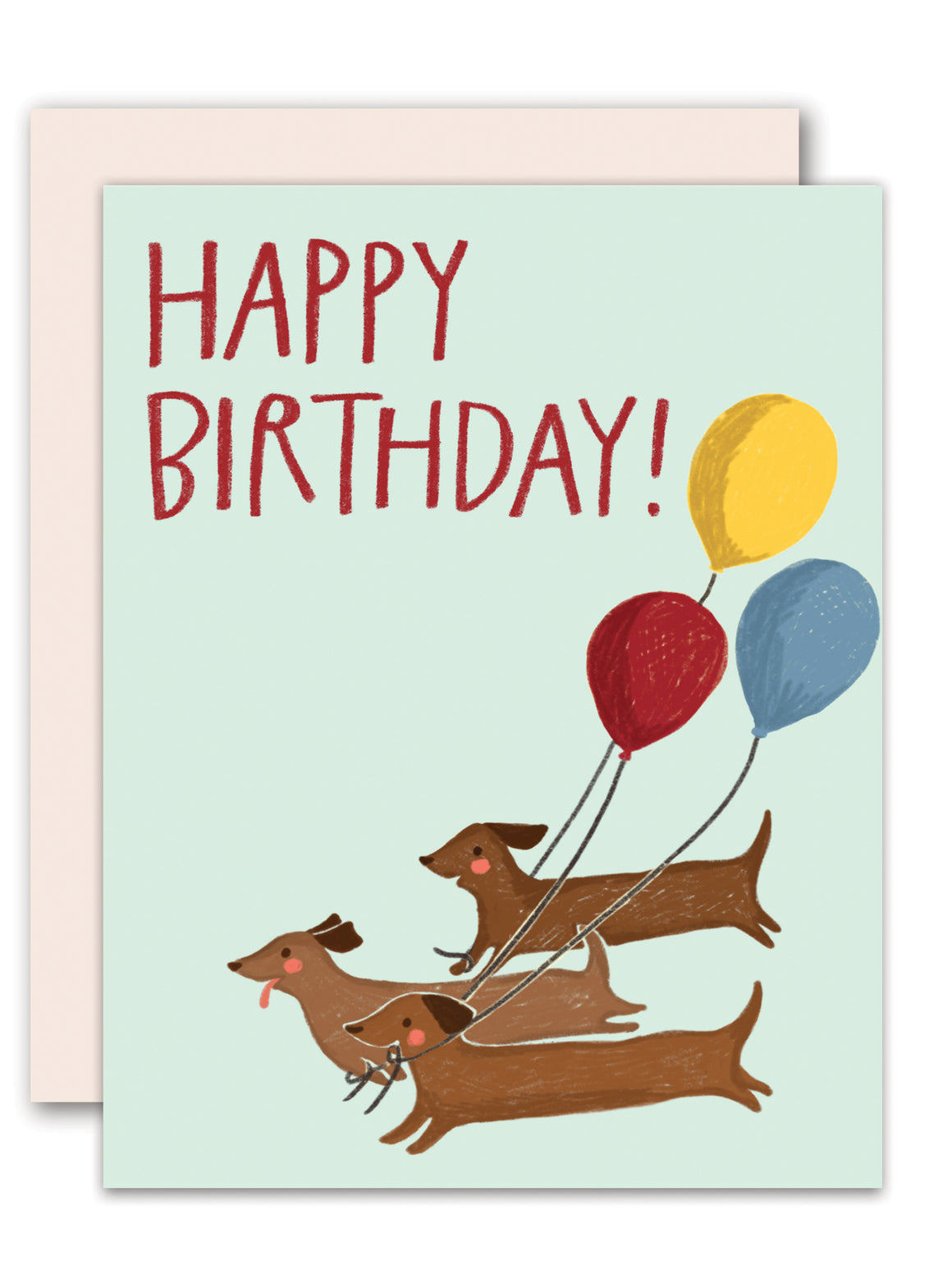 Dogs with balloons - birthday card