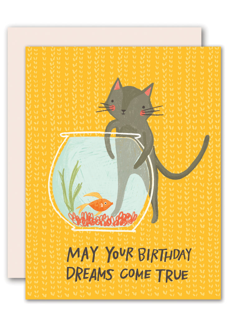 Cat fishing birthday card